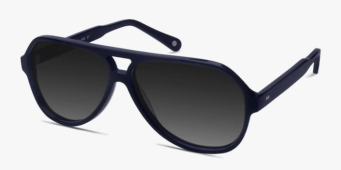 Americana Navy Acetate Sunglass Frames from EyeBuyDirect, Angle View