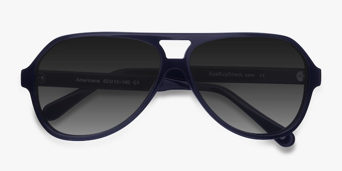 Americana Navy Acetate Sunglass Frames from EyeBuyDirect, Closed View