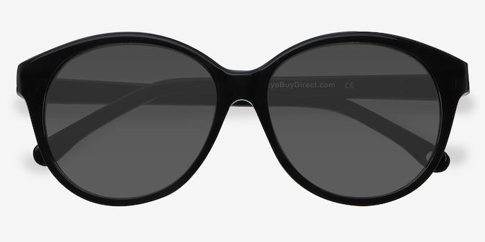 Stella Dark Gray Acétate Soleil de Lunettes d'EyeBuyDirect, Vue Rapprochée