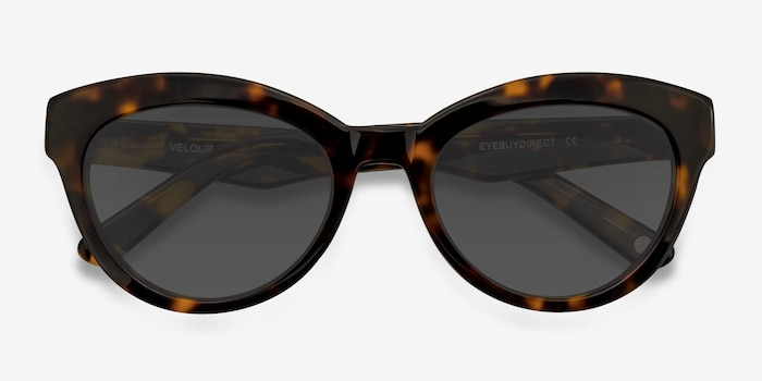 Velour Tortoise Acetate Sunglass Frames from EyeBuyDirect, Closed View