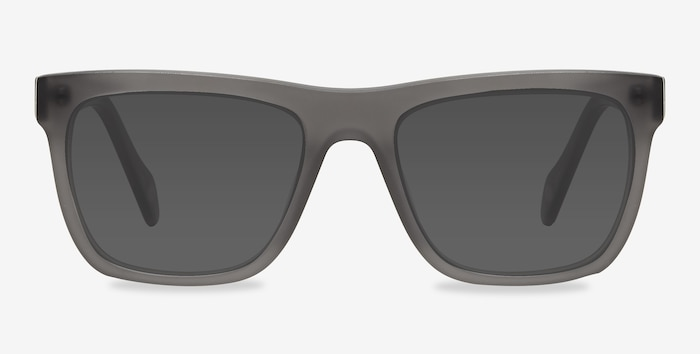 Virtual Matte Gray Acetate Sunglass Frames from EyeBuyDirect, Front View