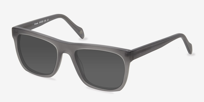 Virtual Matte Gray Acetate Sunglass Frames from EyeBuyDirect, Angle View