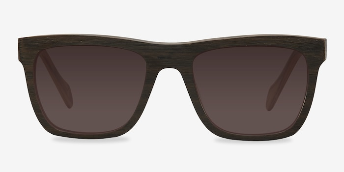 Virtual Brown Acetate Sunglass Frames from EyeBuyDirect, Front View