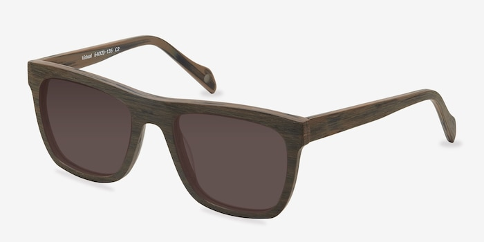 Virtual Brown Acetate Sunglass Frames from EyeBuyDirect, Angle View