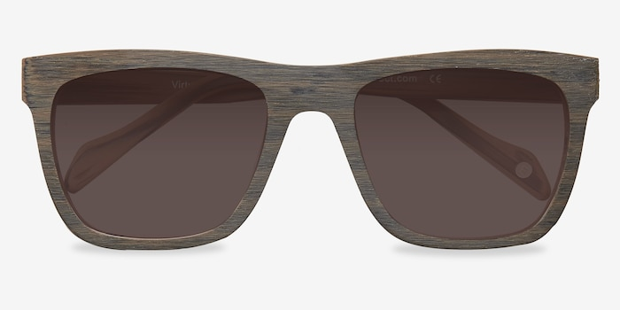 Virtual Brown Acetate Sunglass Frames from EyeBuyDirect, Closed View