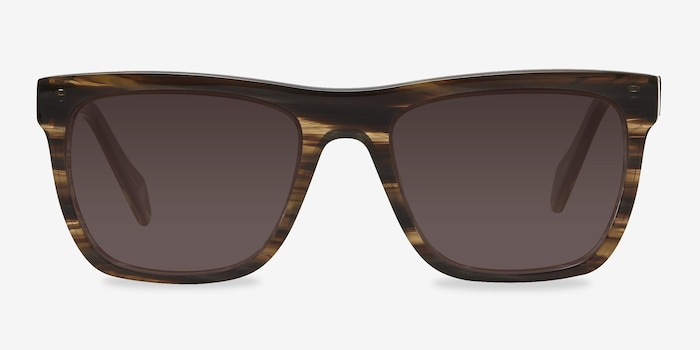 Virtual Brown Strip Acetate Sunglass Frames from EyeBuyDirect, Front View