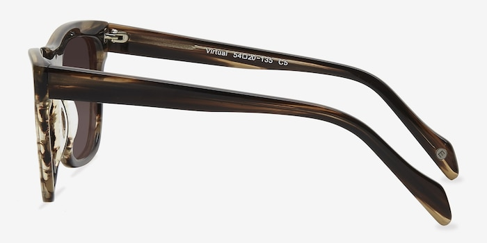 Virtual Brown Strip Acetate Sunglass Frames from EyeBuyDirect, Side View