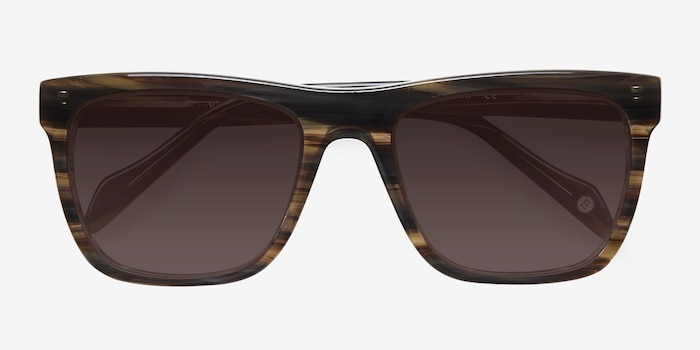 Virtual Brown Strip Acetate Sunglass Frames from EyeBuyDirect, Closed View