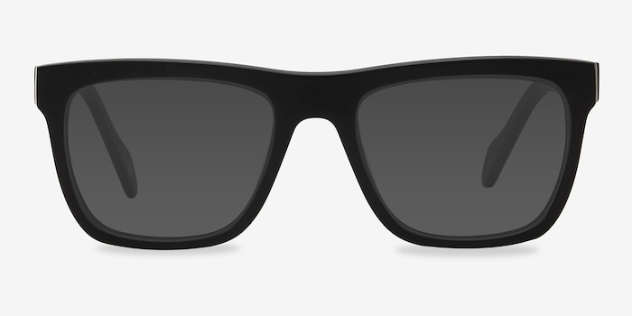 Virtual Matte Black Acetate Sunglass Frames from EyeBuyDirect, Front View
