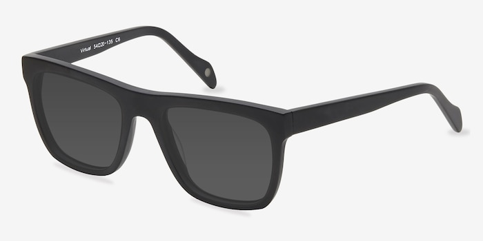 Virtual Matte Black Acetate Sunglass Frames from EyeBuyDirect, Angle View