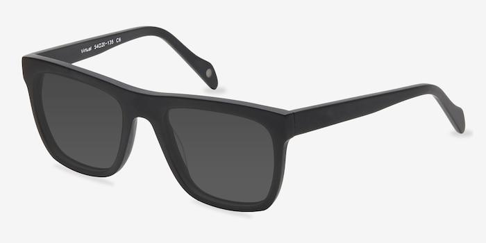 Virtual Matte Black Acétate Soleil de Lunettes d'EyeBuyDirect, Vue d'Angle