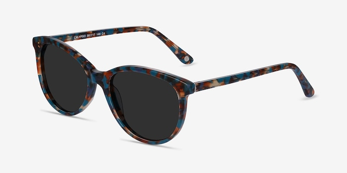 Calypso Floral Acetate Sunglass Frames from EyeBuyDirect, Angle View