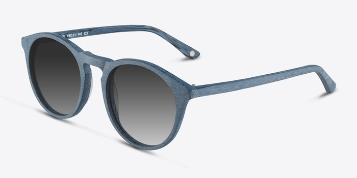 Air Blue Wood-texture Sunglass Frames from EyeBuyDirect, Angle View