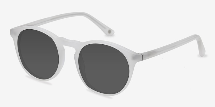 Air Matte White Acetate Sunglass Frames from EyeBuyDirect, Angle View