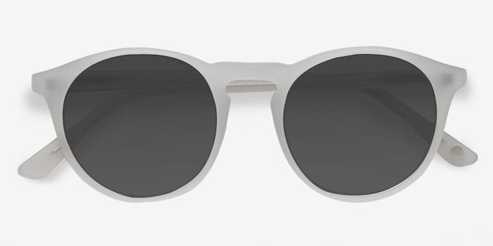 Air Matte White Acetate Sunglass Frames from EyeBuyDirect, Closed View
