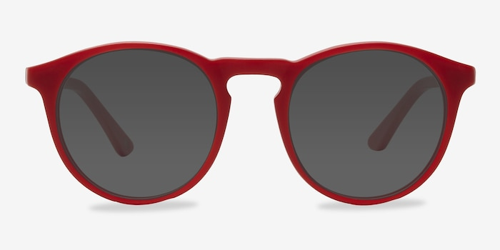Air Matte Red Acetate Sunglass Frames from EyeBuyDirect, Front View