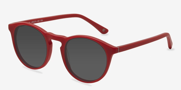 Air Matte Red Acetate Sunglass Frames from EyeBuyDirect, Angle View