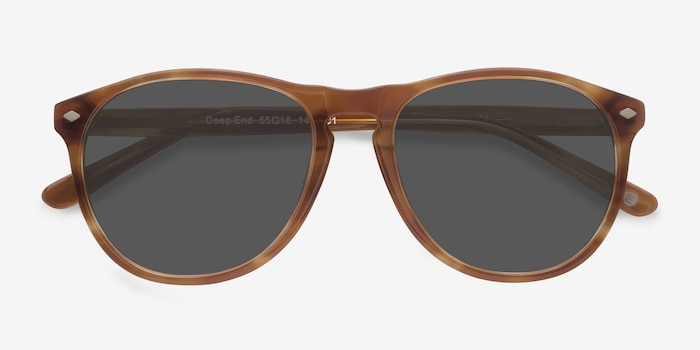 Deep End  Tortoise  Acetate Sunglass Frames from EyeBuyDirect, Closed View