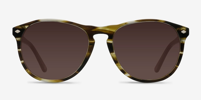 Deep End  Brown Striped  Acetate Sunglass Frames from EyeBuyDirect, Front View