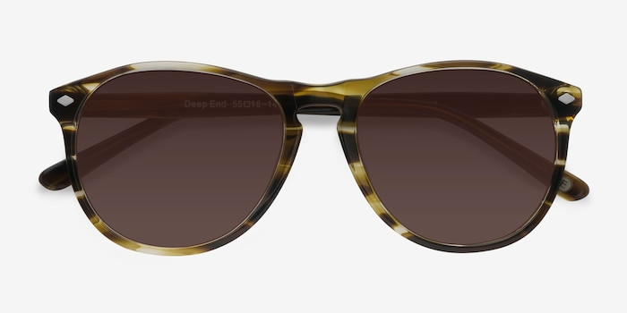 Deep End  Brown Striped  Acetate Sunglass Frames from EyeBuyDirect, Closed View