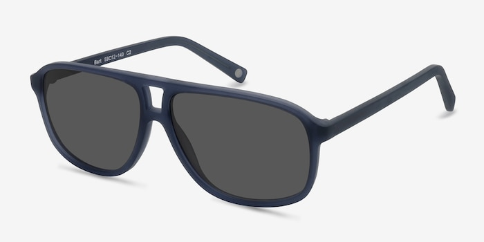Bart Matte Blue Acetate Sunglass Frames from EyeBuyDirect, Angle View