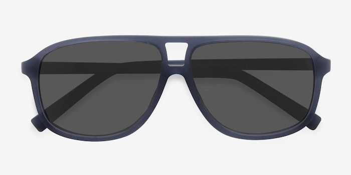 Bart Matte Blue Acetate Sunglass Frames from EyeBuyDirect, Closed View