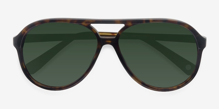 Jakarta Tortoise Acetate Sunglass Frames from EyeBuyDirect, Closed View