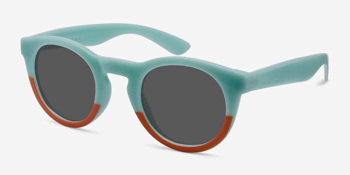 Sunset  Light Blue  Plastic Sunglass Frames from EyeBuyDirect, Angle View