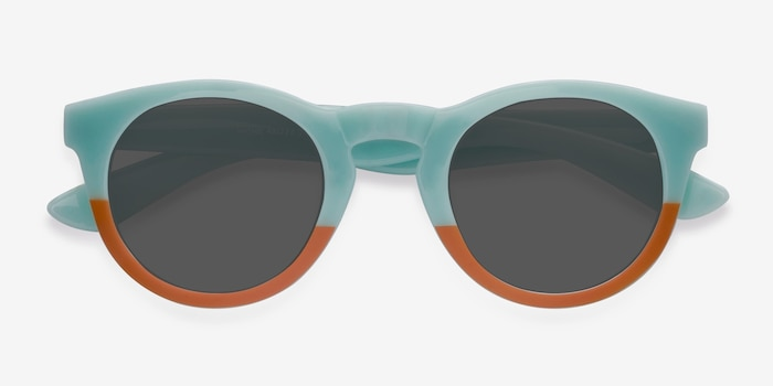 Sunset  Light Blue  Plastic Sunglass Frames from EyeBuyDirect, Closed View