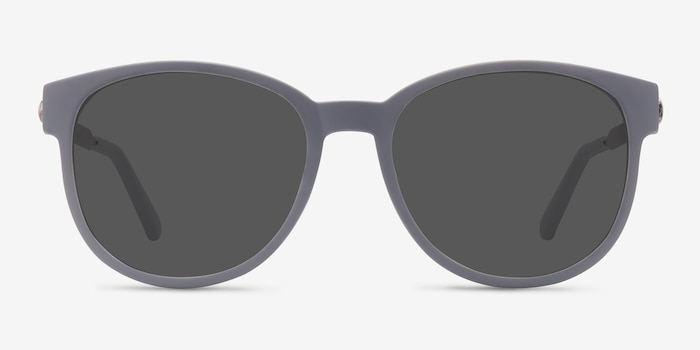 Terracotta Matte Gray Metal Sunglass Frames from EyeBuyDirect, Front View