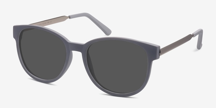 Terracotta Matte Gray Metal Sunglass Frames from EyeBuyDirect, Angle View