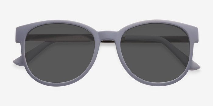Terracotta Matte Gray Metal Sunglass Frames from EyeBuyDirect, Closed View