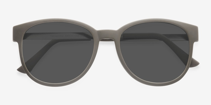 Terracotta Dark Green Plastic Sunglass Frames from EyeBuyDirect, Closed View