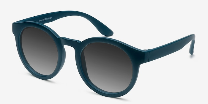 Oasis Matte Blue Plastic Sunglass Frames from EyeBuyDirect, Angle View
