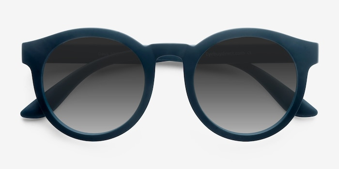 Oasis Matte Blue Plastic Sunglass Frames from EyeBuyDirect, Closed View