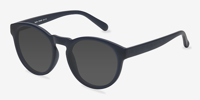 Taylor Matte Navy Plastic Sunglass Frames from EyeBuyDirect, Angle View
