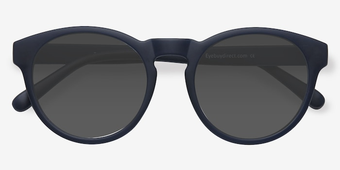 Taylor Matte Navy Plastic Sunglass Frames from EyeBuyDirect, Closed View