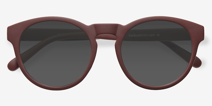 Taylor Marsala Plastic Sunglass Frames from EyeBuyDirect, Closed View