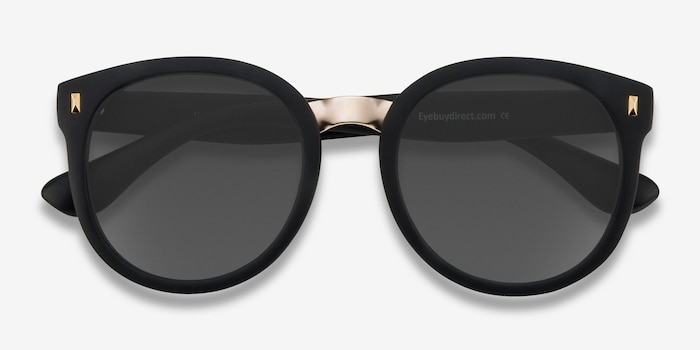 Vedette Matte Black Metal Sunglass Frames from EyeBuyDirect, Closed View