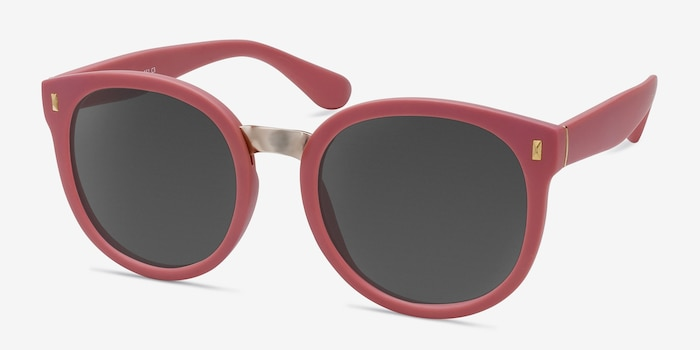 Vedette Matte Pink Metal Sunglass Frames from EyeBuyDirect, Angle View