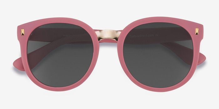 Vedette Matte Pink Metal Sunglass Frames from EyeBuyDirect, Closed View