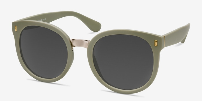 Vedette Matte Olive Metal Sunglass Frames from EyeBuyDirect, Angle View