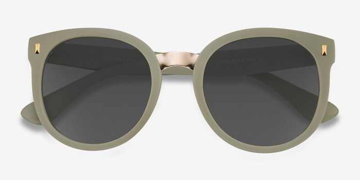 Vedette Matte Olive Metal Sunglass Frames from EyeBuyDirect, Closed View
