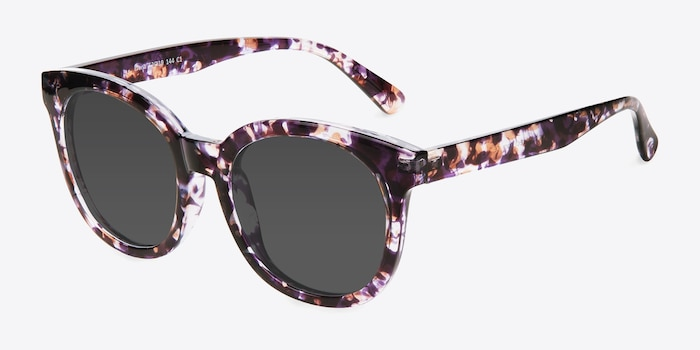 Elena Floral Plastic Sunglass Frames from EyeBuyDirect, Angle View
