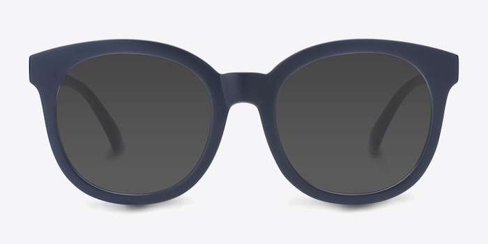 Elena Matte Navy Plastic Sunglass Frames from EyeBuyDirect, Front View