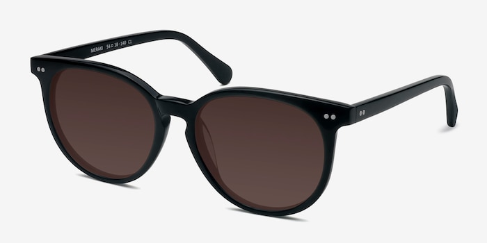 Meraki Black Acetate Sunglass Frames from EyeBuyDirect, Angle View