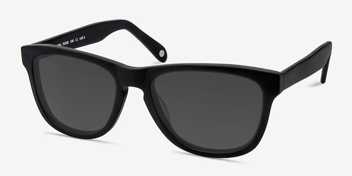Malibu Matte Black Acetate Sunglass Frames from EyeBuyDirect, Angle View