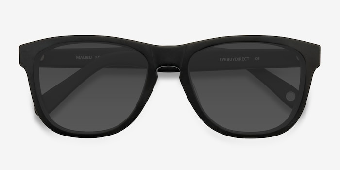 Malibu Matte Black Acetate Sunglass Frames from EyeBuyDirect, Closed View