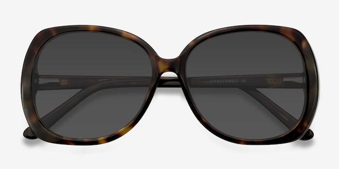 Petra Tortoise Acetate Sunglass Frames from EyeBuyDirect, Closed View