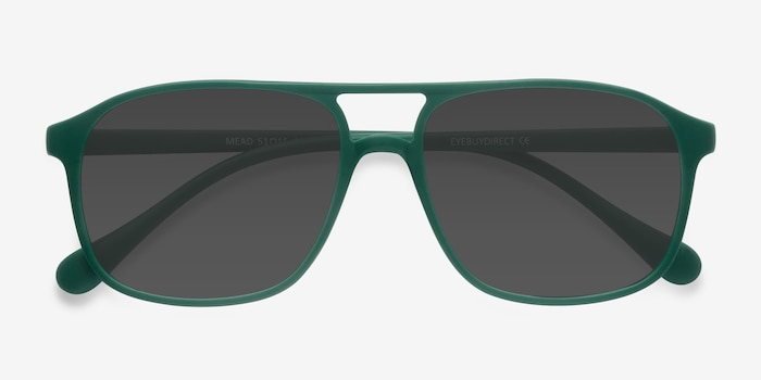 Mead Green Plastic Sunglass Frames from EyeBuyDirect, Closed View